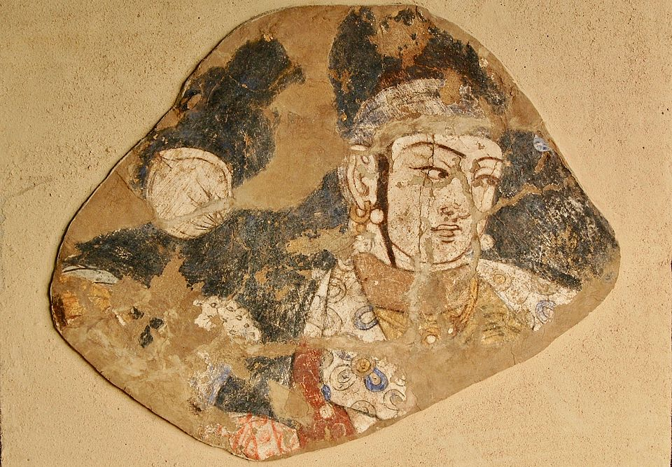Fragment of a wall painting, Tavqa archaeological site, Termez Archaeological Museum, Uzbekistan
