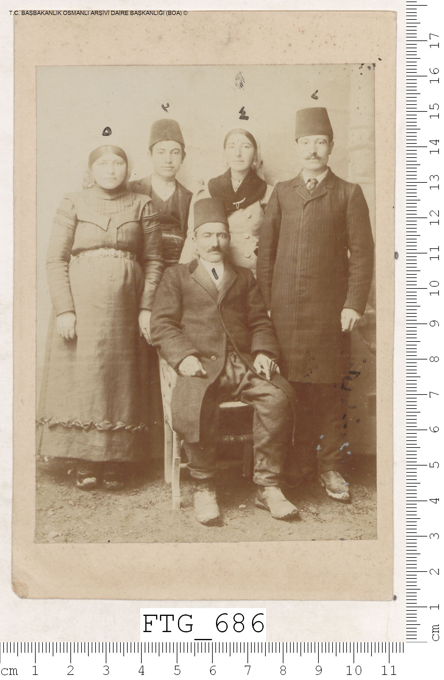 Photograph of Agapik Agbabian from Sivas with four of his family members, all bound for America.  May 13, 1908. Courtesy of Başbakanlık Osmanlı Arşivleri (Prime Ministry Archives, Istanbul)